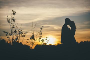 loving wedding couple hugging sihouette sunset