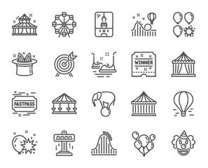Amusement park line icons. Set of Carousels, Roller coaster and Circus linear icons. Air balloon, Crane claw machine and Fastpass symbols. Circus amusement park tickets. Vector