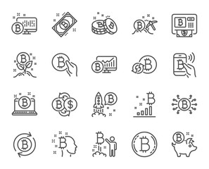 Cryptocurrency line icons. Set of Blockchain, Crypto ICO start up and Bitcoin linear icons. Mining, Cryptocurrency exchange and gold pickaxe symbols. Bitcoin ATM, crypto coins and markets. Vector