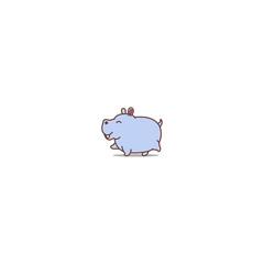 Cute hippo walking cartoon icon, vector illustration
