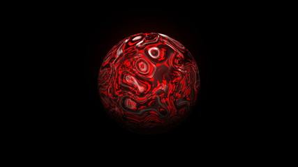 Sphere with visual wave oil surface, modern abstract 3d rendering backdrop