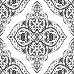 White and black vintage vector seamless pattern, wallpaper. Elegant classic texture. Luxury ornament. Royal, Victorian, Baroque elements. Great for fabric and textile, wallpaper, or any desired idea.