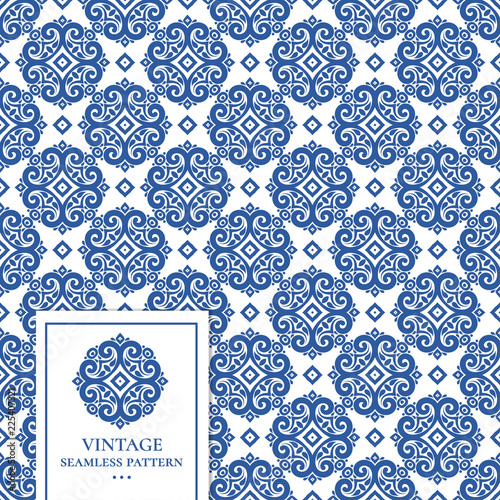 White And Blue Vintage Vector Seamless Pattern Wallpaper Elegant