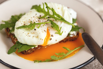 Rye toast with poached egg, dairy cream and arugula