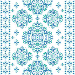 Beautiful green and blue floral seamless pattern. Vintage vector, paisley elements. Traditional,Turkish, Indian motifs. Great for fabric and textile, wallpaper, packaging or any desired idea.