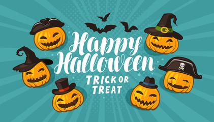 Halloween, greeting card. Holiday banner. Cartoon vector illustration