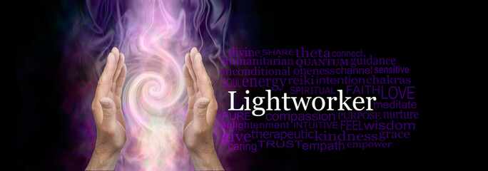 Papiers peints Spirale The healing hands of a Lightworker word cloud - male hands in an upwards open gesture beside the word LIGHTWORKER and a relevant word cloud on dark background with Fibonacci spiral behind