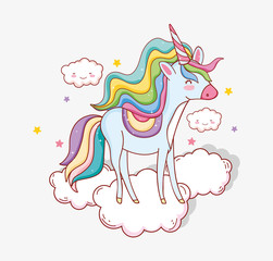 cute unicorn with horn in the clouds and stars