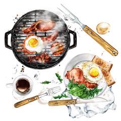 Foto op Plexiglas Waterverf Illustraties Bacon and Egg Breakfast on Grill. Watercolor Illustration.