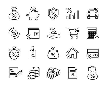 investment trade lending icons set; black line icons on white ba