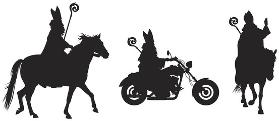 Heilige Nikolaus, Sinterklaas on the horse and bikers' bike vector silhouettes, winter holiday figure based on Saint Nicholas, Bishop of Myra, eve and feast of Saint Nicholas Gift Giver, Santa Claus