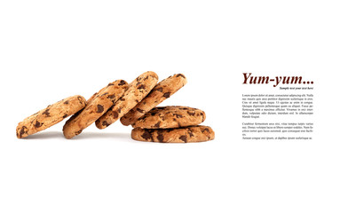 Creative layout with collapsed pile of yummy chocolate chip cookies with sample text