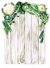Foto op Plexiglas Waterverf Illustraties Fresh green Vegetables. Watercolor Illustration.