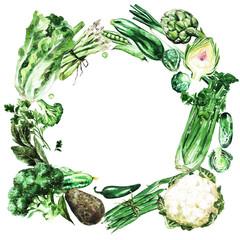 Fresh green Vegetables. Watercolor Illustration.