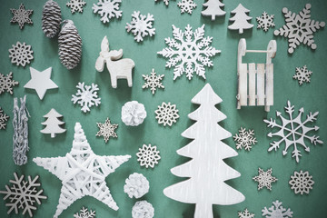 Flat Lay, Wooden Christmas Decoration Like Snowflakes, Lights
