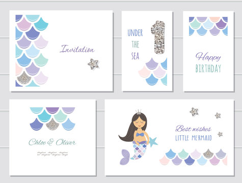 Mermaid birthday card templates set for girls. One year anniversary. Included fish skin pattern with silver glitter.