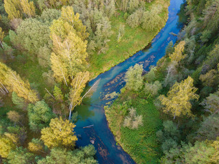 Aerial top view of autumn forest and blue river