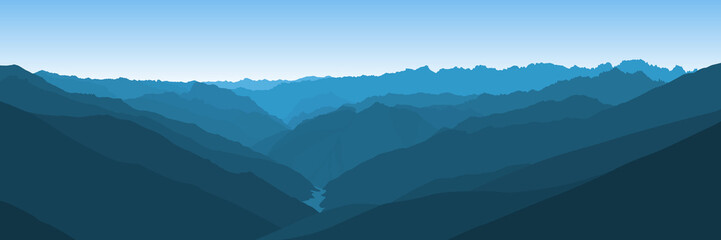 Beautiful blue vector landscape with a curvy valley in Himalaya mountains.