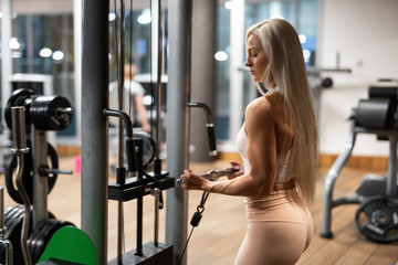 Woman in sportswear doing exercise in gym