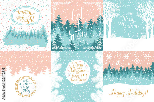 merry and bright christmas happy holidays happy new year greeting cards set vector