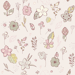 Seamless pattern. pastel Flower graphic design. Vector set of floral elements with hand drawn flowers. Collection set of doodle floral elements. Modern botany set. Hand drawing