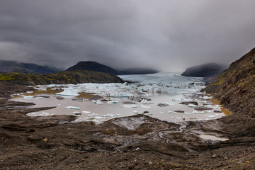 Frozen landscape at a drainglacier of the large glacier vatnajokull glacier, Iceland. Glacier provides water Ice Lagoon Jokulsarlon.
