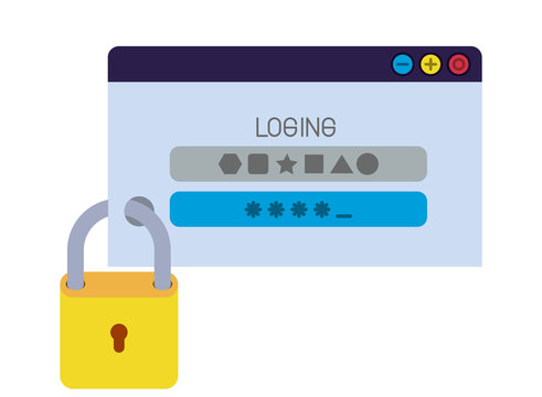 window with password and padlock isolated icons