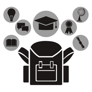 white background with black silhouette of school bag with circualr frame of icons academic knowledge