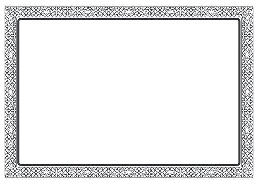 Rectangular frame with celtic motives. Vector illustration isolated on white background