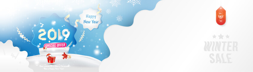 Winter Sale 25% off. Happy new year 2019 Long greeting card template with gift box and snowdrifts on blue background with special offer. Creative banner with ribbons and light effects. Flat vector