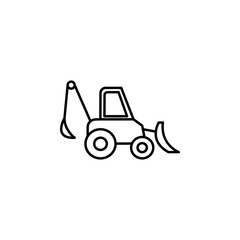 backhoe equipment icon. Element of construction machine icon for mobile concept and web apps. Thin line backhoe equipment icon can be used for web and mobile