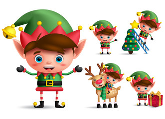 Boy christmas elf vector character set. Little kid elves with green costume holding christmas gifts and elements isolated in white background. Vector illustration.