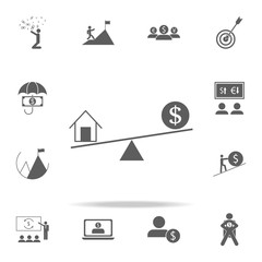 Home scales and money icon. Finance icons universal set for web and mobile