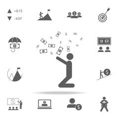 a man throws money icon. Finance icons universal set for web and mobile