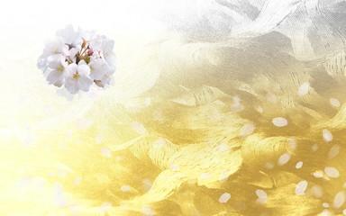 Wall Mural - 和風の桜〈和紙の背景)