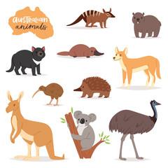 Australian animals vector animalistic character in wildlife Australia kangaroo koala and platypus illustration set of cartoon wild wombat and emu isolated on white background