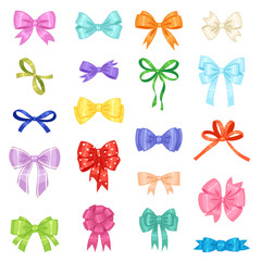Bow vector bowknot or ribbon for decorating gifts on Christmas or Birtrhday party illustration set element of bowed or ribboned presents on holidays celebration isolated on white background