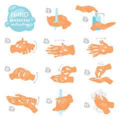 Wash hands vector instructions of washing or cleaning hands with soap and foam in water illustration antibacterial set of healthy skincare with bubbles isolated on white background