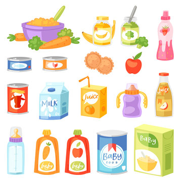 Baby food vector child healthy nutrition fresh juice with fruits and vegetable mashed puree for childcare health illustration childish set of carrot or apple and milk isolated on white background