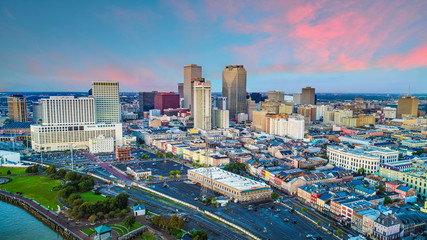 Drone Aerial of Downtown New Orleans, Louisiana, USA Skyline