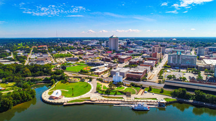 Aerial View of Downtown Montgomery, Alabama, USA Skyline