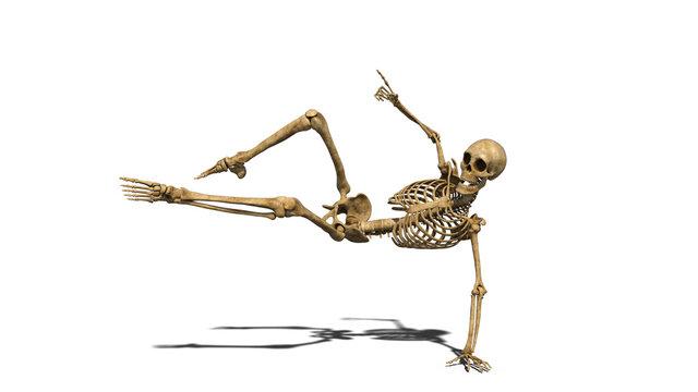 Funny skeleton dancing on the floor, human skeleton exercising on white background, 3D rendering