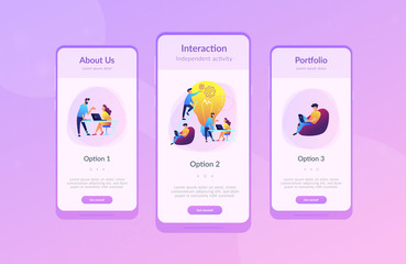 People working in friendly open space workplace. Coworking, freelance, teamwork, communication, interaction, idea, independent activity concept, violet palette. Mobile UI UX app interface template.