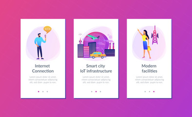 People with smartphones around modern facilities connected to global web network with wi-fi signs. Internet of things, IoT infrastructure and smart city concept. UI UX GUI app interface template.