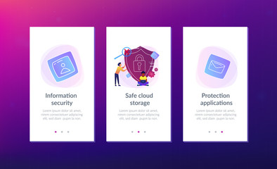 Man holding security shield and developer using laptop. Data and applications protection, network and information security, safe cloud storage concept, violet palette. UI UX GUI app interface template