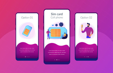 Mobile sim phone card and users with smartphones. Mobile phone network, smartphone plastic card and microchip, wireless cellphone communication concept, violet palette. UI UX GUI app interface