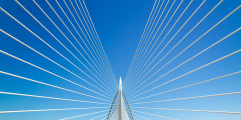 Beautiful bridge and blue sky .
