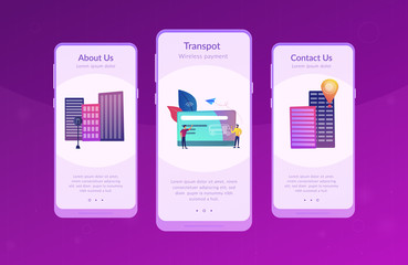 Bus travel card and users. Public transport pass, unlimited or pre-purchased trips, passenger card and transportation, transpot wireless payment concept, violet palette. UI UX GUI app interface