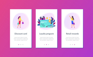 Discount card with percent sign and woman with discount tag. Loyalty program and customer service, retail and rewards card, loyalty points card concept, violet palette. UI UX GUI app interface