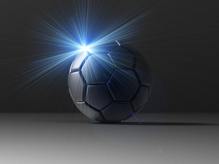 Soccer ball with flash light under black background. 3D illustration. 3D high quality rendering.